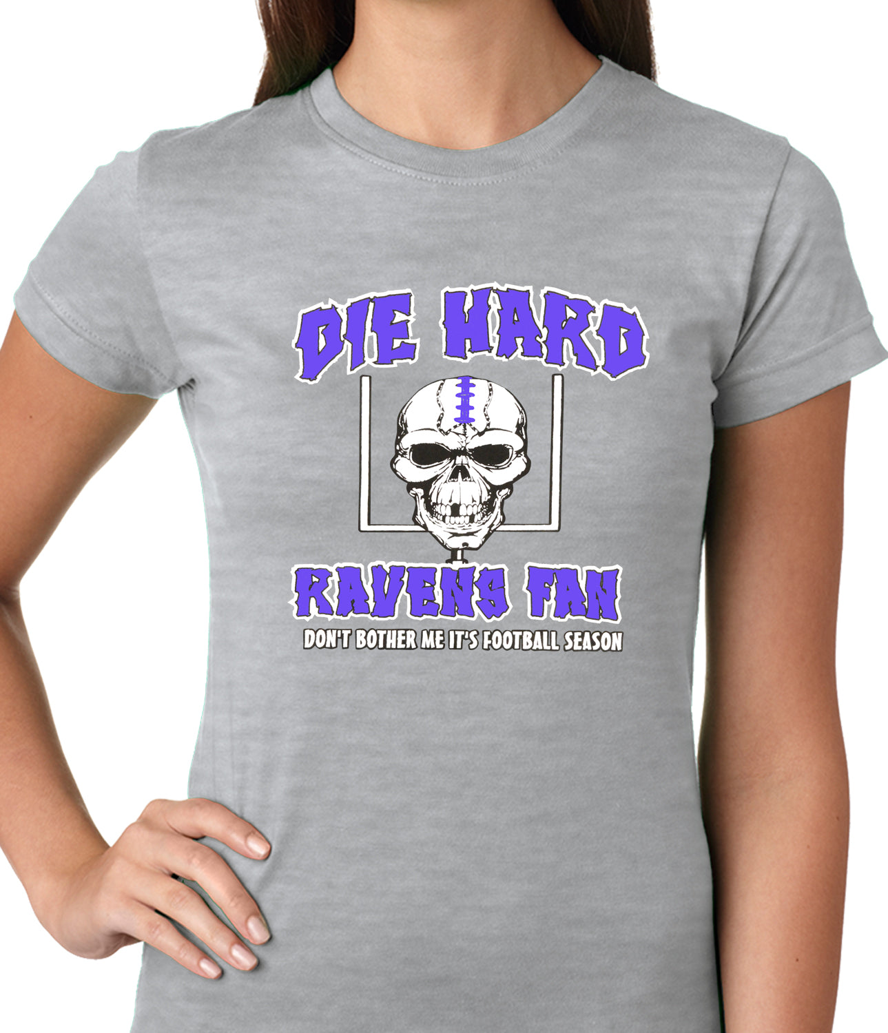 Die Hard Ravens Fan Football Girls T-shirt Heather Grey