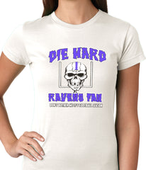 Die Hard Ravens Fan Football Girls T-shirt White