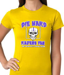 Die Hard Ravens Fan Football Girls T-shirt Yellow