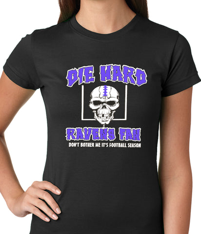 Die Hard Ravens Fan Football Girls T-shirt Black