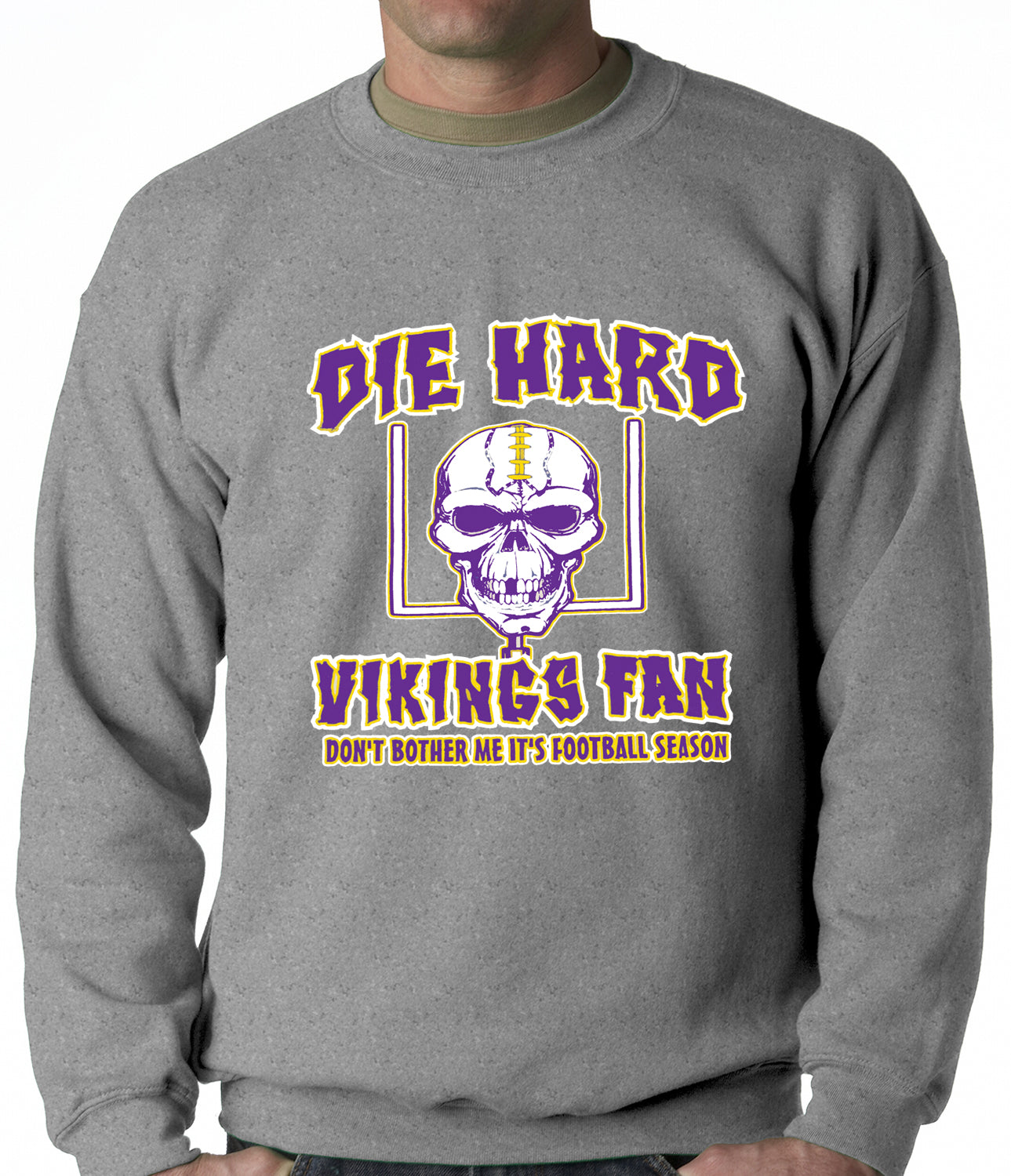 Die Hard Vikings Football Fan Crewneck Sweatshirt