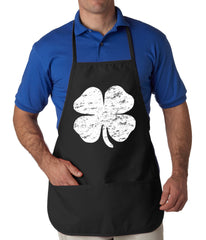 Distressed 4 Leaf Clover Apron Black