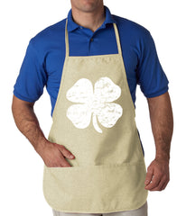 Distressed 4 Leaf Clover Apron Natural