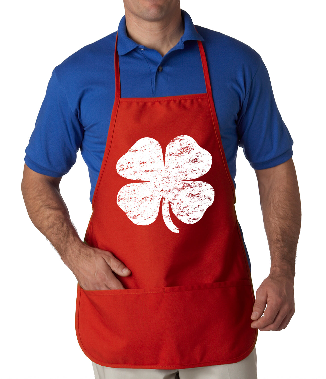 Distressed 4 Leaf Clover Apron Red