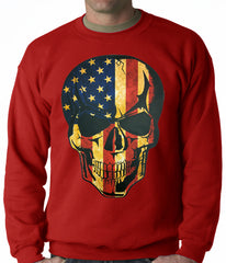 Distressed American Flag Skull Adult Crewneck
