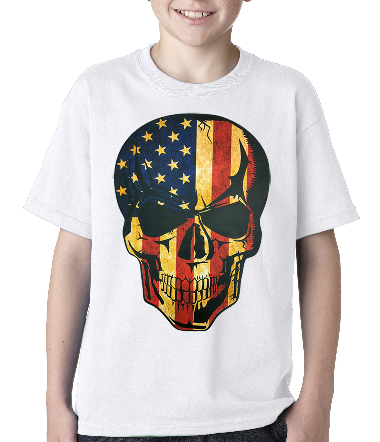 Distressed American Flag Skull Kids T-shirt