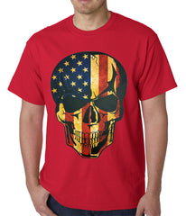 Distressed American Flag Skull Mens T-shirt
