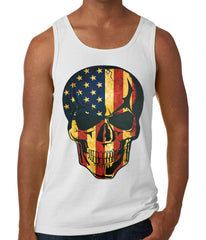 Distressed American Flag Skull Tank Top