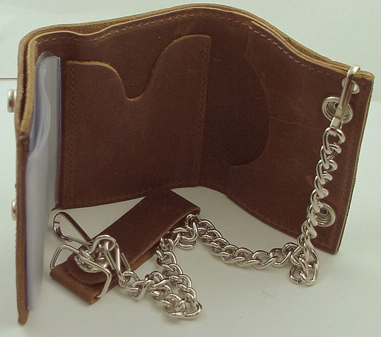 Distressed Natural Brown Leather Chain Wallet
