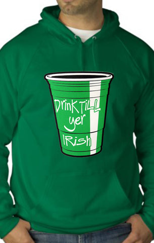 Drink Till Yer Irish Green Cup Adult Hoodie