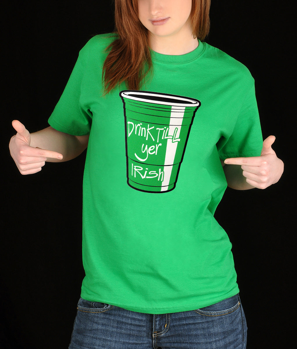 fcbca49b Drink Till Yer Irish Green Cup Girl's T-Shirt – Bewild
