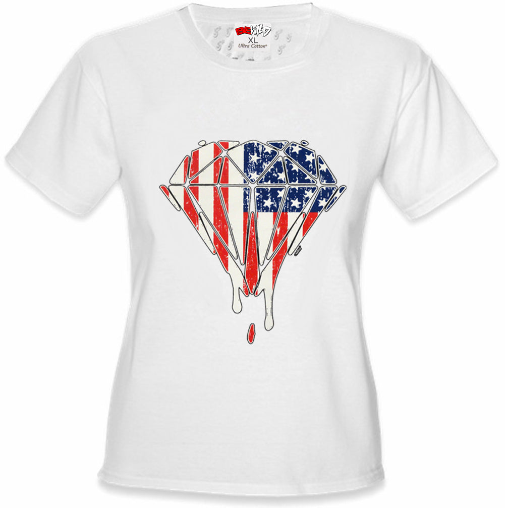 Dripping American Flag Diamond Girl's T-Shirt