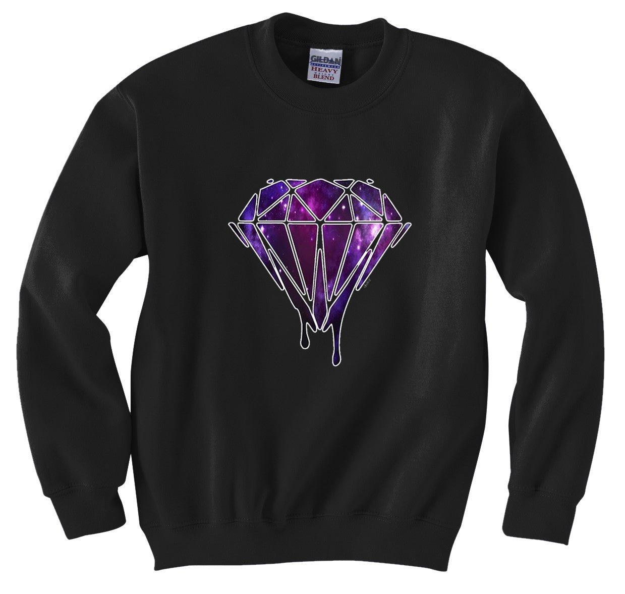 Dripping Purple Galaxy Diamond Crew Neck Sweatshirt