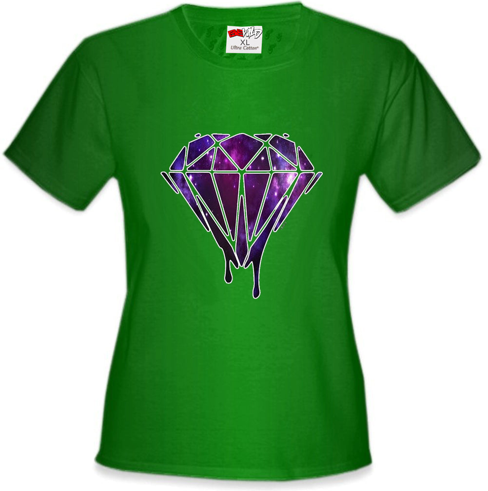 Dripping Purple Galaxy Diamond Girl's T-Shirt