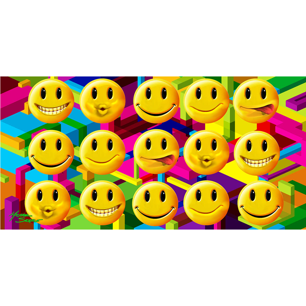 Emoji's All Over Smiley Faces Velour Beach Towel