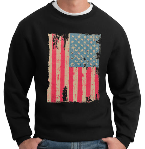 Faded and Distressed American Flag with Hot Pink Stripes Crew Neck Sweatshirt