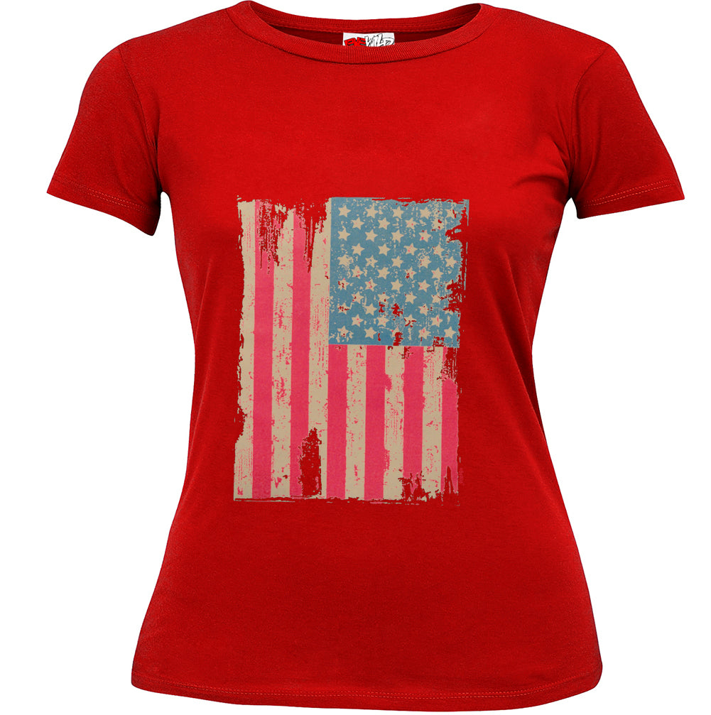 Faded and Distressed American Flag with Hot Pink Stripes Girl's T-Shirt