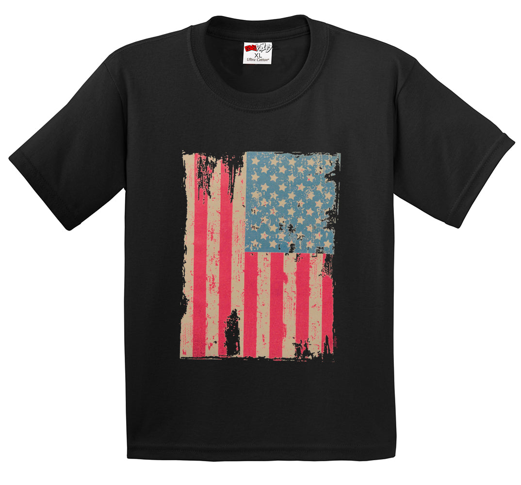 Faded and Distressed American Flag with Hot Pink Stripes Men's T-Shirt