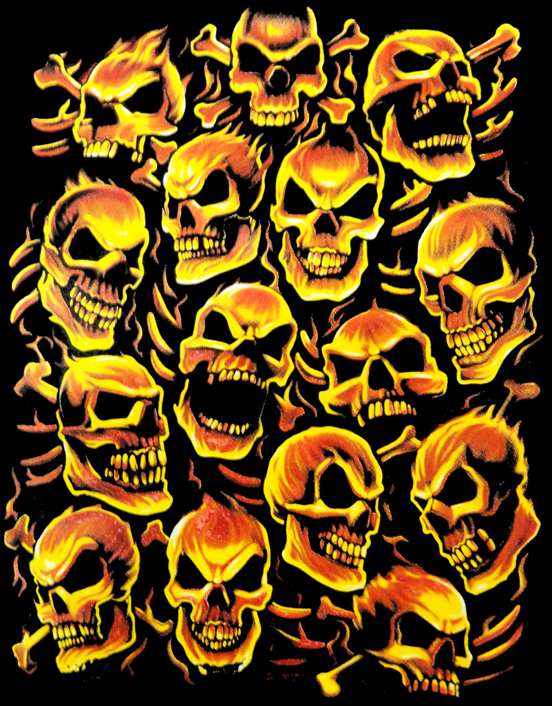 Fiery Skull Pile Men's T-Shirt (Black)