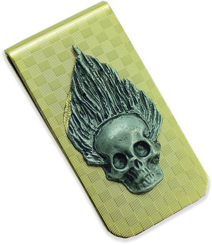 Fire Skull Checkerboard Money Clip