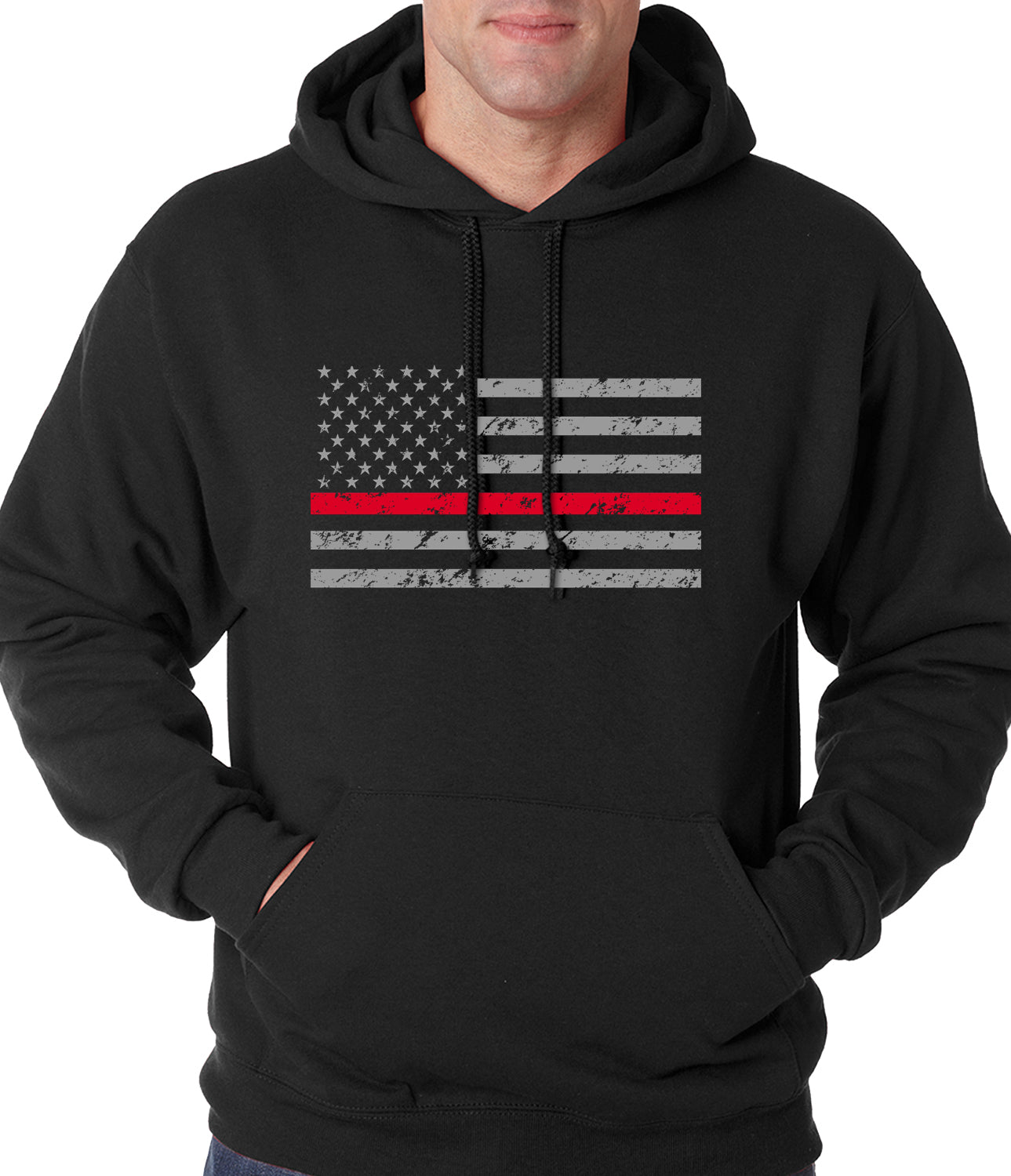 Firefighter Thin Red Line American Flag - Support Firefighter Department Horizontal Adult Hoodie