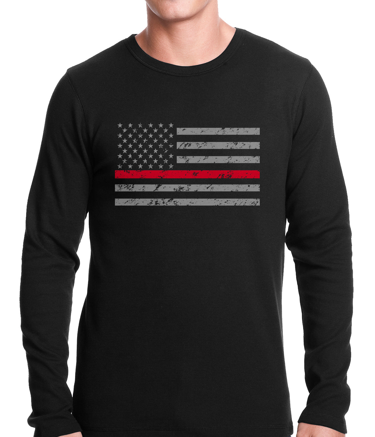 Firefighter Thin Red Line American Flag - Support Firefighter Department Horizontal Thermal Shirt