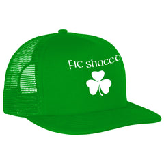 Fit Shaced (Shit Faced) St. Patrick's Day Shamrock Drinking Adjustable Trucker Hat (Kelly Green)