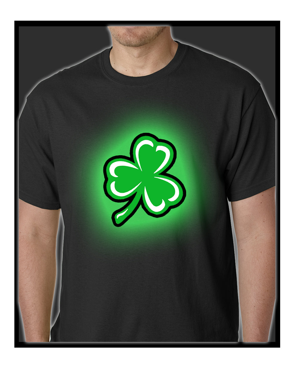 Flashing Light Up Shamrock Mens T-shirt (Black)