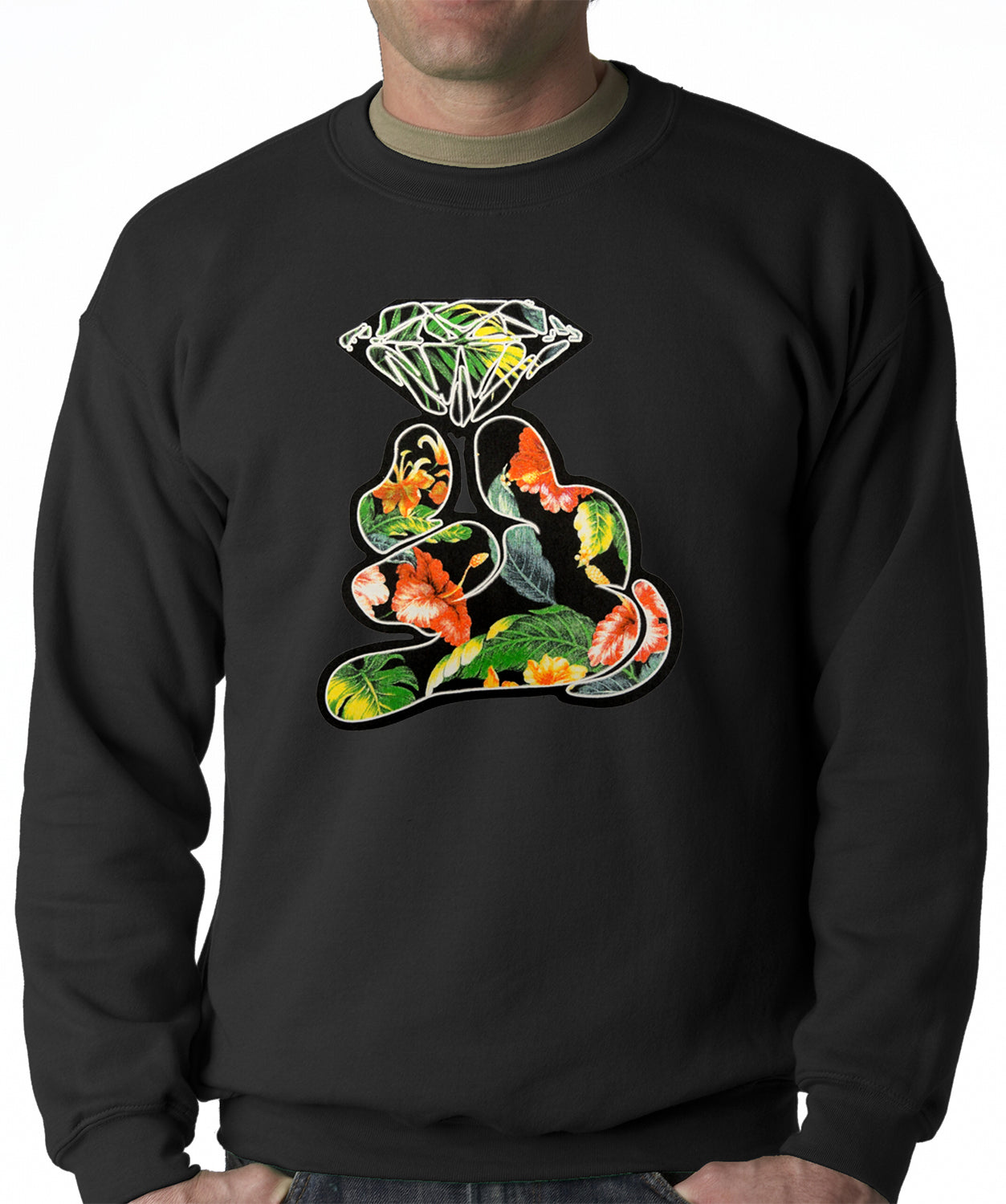 Floral Cartoon Diamond Hand Adult Crewneck
