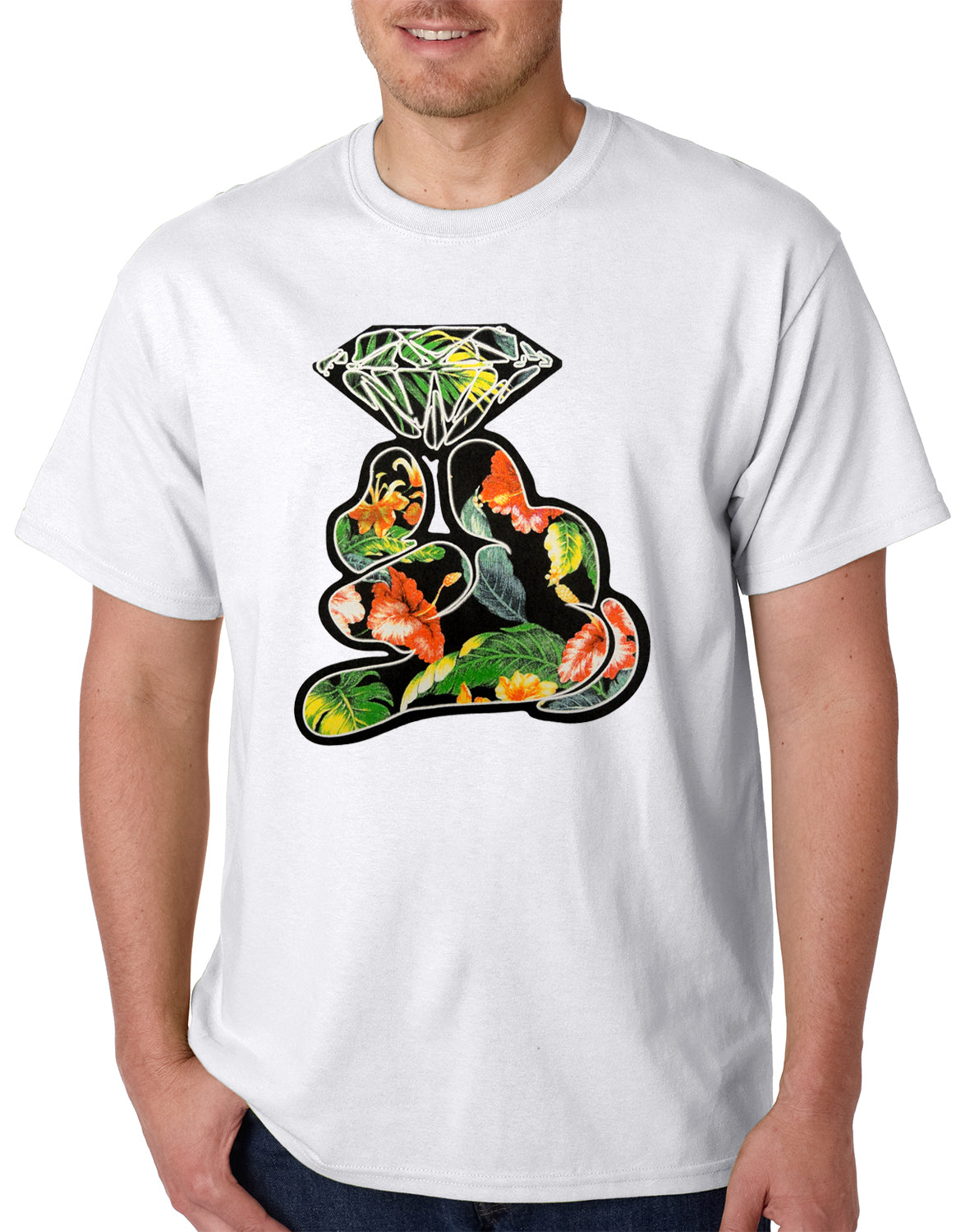 Floral Cartoon Diamond Hand Mens T-shirt