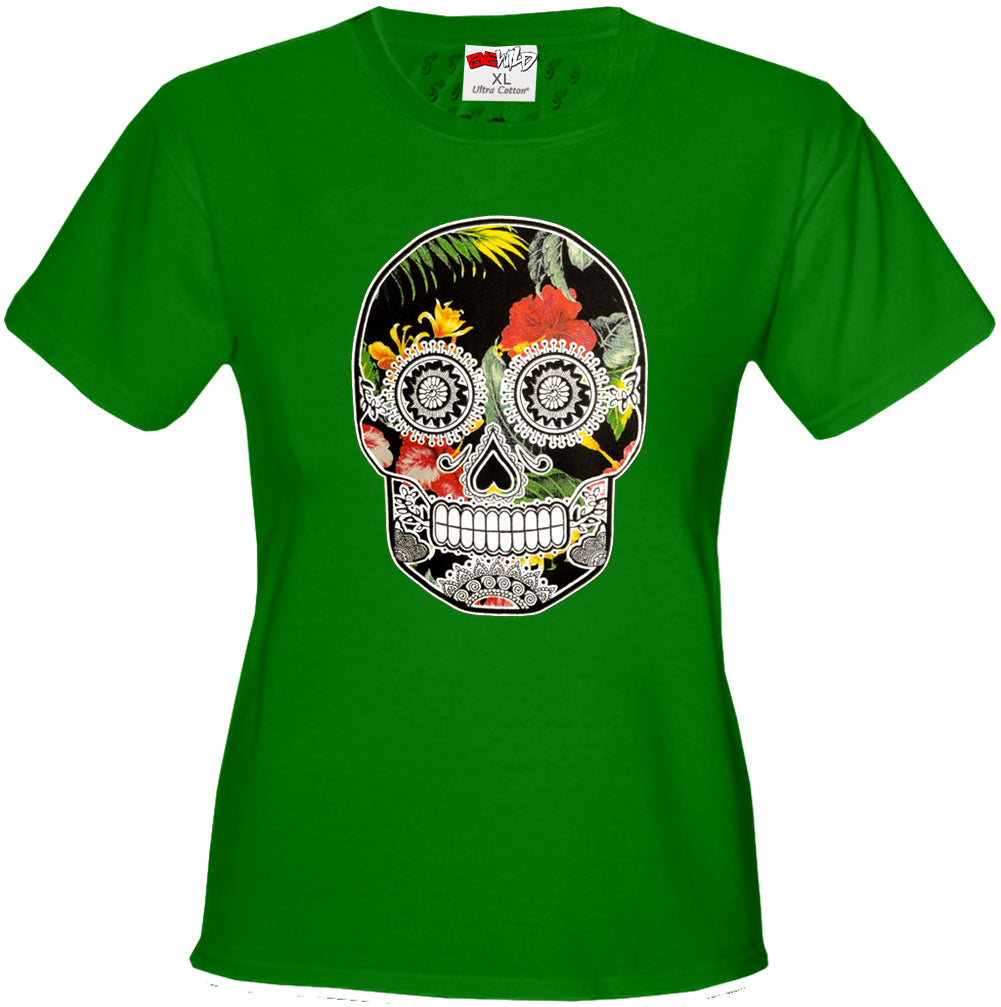 Floral Sugar Skull Girl's T-Shirt