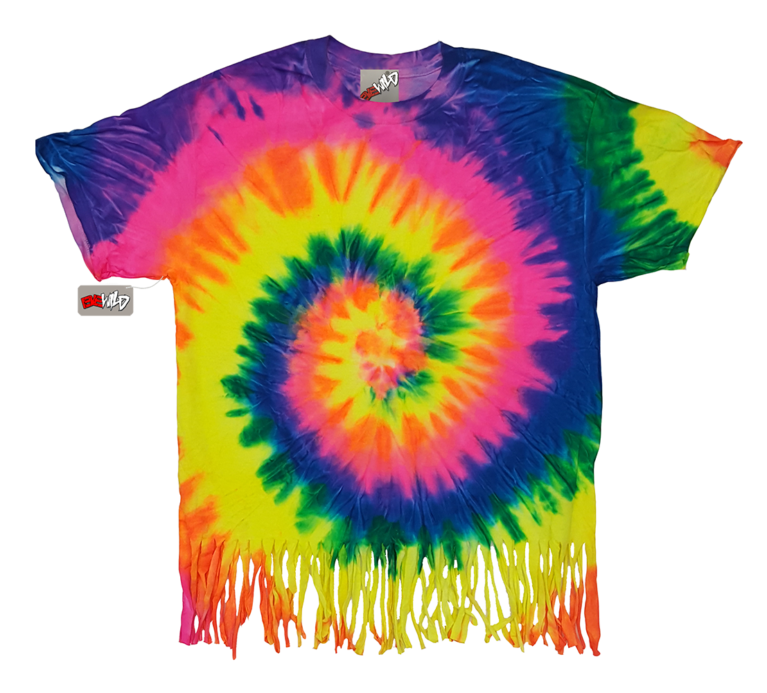 Fluorescent Mutil Rainbow Tie Dye Fringe Kids T-shirt