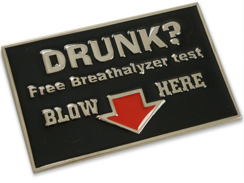 Free Breathalyzer Tests Belt Buckle With FREE Leather Belt