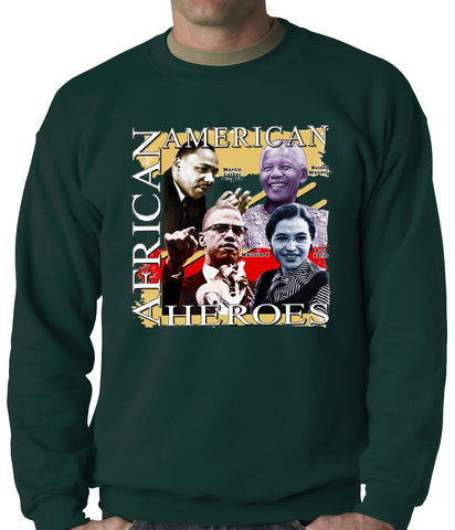 Full Color African American Heroes Adult Crewneck
