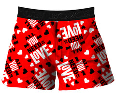Fun Boxer - All You Need is Love Valentines Day Boxer Shorts (Red)