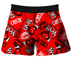 Fun Boxer - I Heart You Kisses Valentines Day Boxer Shorts (Red)