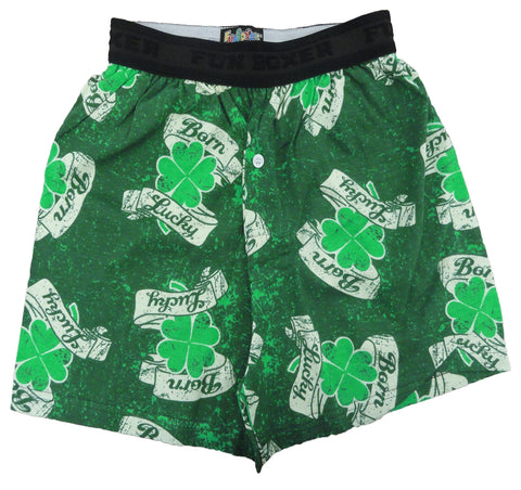 Fun Boxers - Born Lucky Irish Shamrock Boxers
