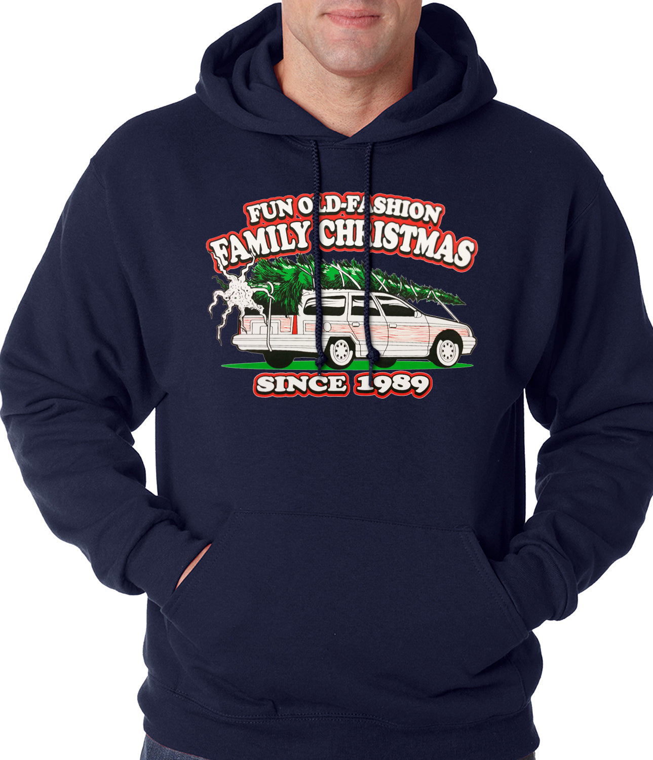 Fun Old-Fashioned Family Christmas Since 1989 Adult Hoodie