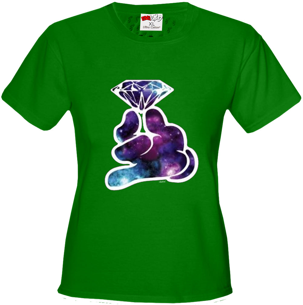 Galaxy Cartoon Hand Holding Diamond Girl's T-Shirt