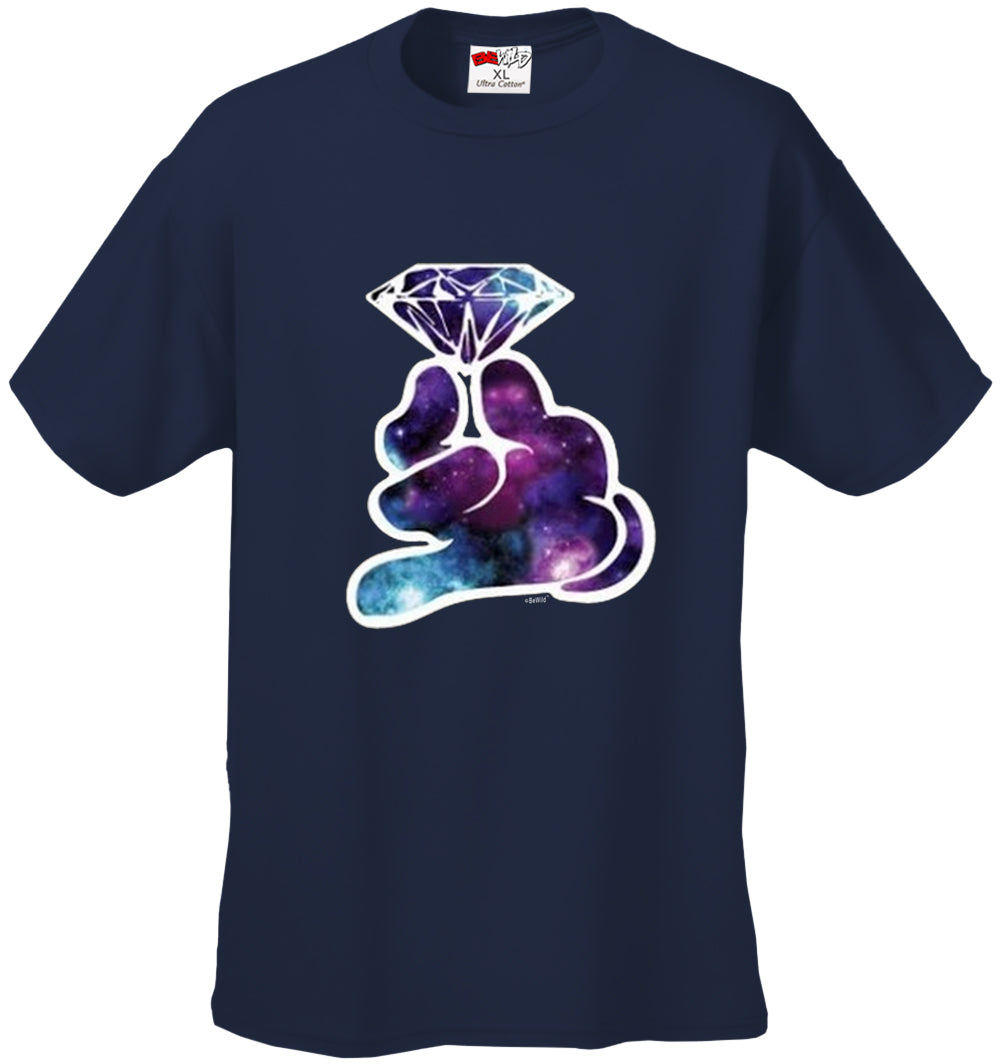 Galaxy Cartoon Hand Holding Diamond Men's T-Shirt