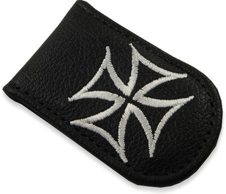 Genuine Leather Magnetic Money Clip (Iron Cross)
