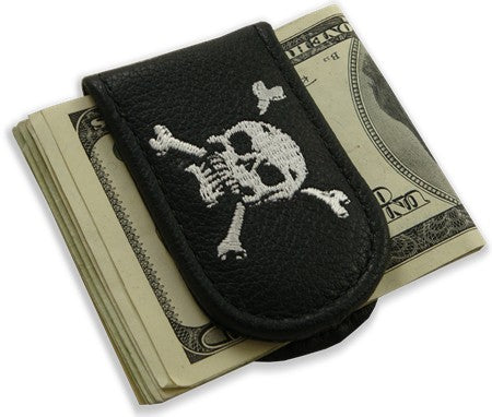 Genuine Leather Magnetic Money Clip (Skull & Crossbones)