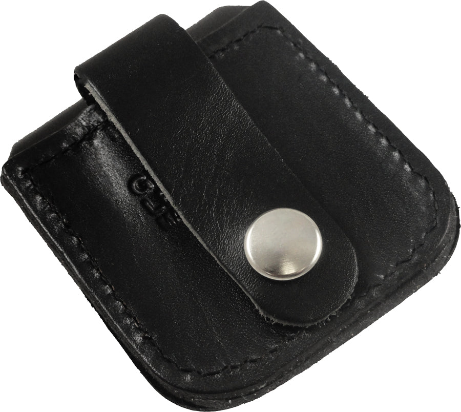 Genuine Leather Zippo Pouch (Plain Black)