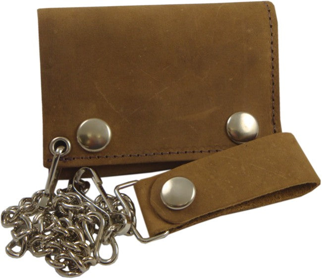 Genuine Rustic Leather Chain Wallet