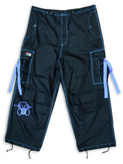 Ghast  Cargo Drawstring Pants (Black/ Light blue)