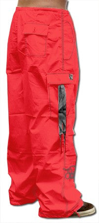Ghast  Cargo Drawstring Pants (Red / Grey)