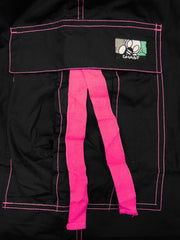 Ghast Contrast Stitch Cargo Dance Pants (Black / Pink)