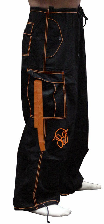 Ghast Contrast Stitch Cargo Raver Pants (Black / Orange)