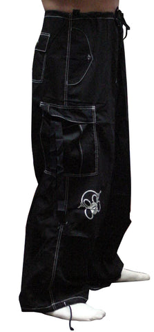 Ghast Contrast Stitch Cargo Raver Pants (Black/White)