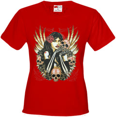 Girl with Skulls and Feather Wings Girl's T-Shirt